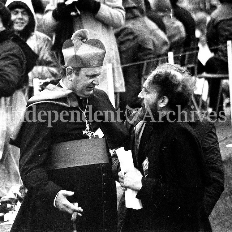 Bishop Casey with Fr Michael Cleary at Youth Mass in Galway during the Pope's 1979 visit. (Part of the Independent Ireland Newspapers/NLI Collection)