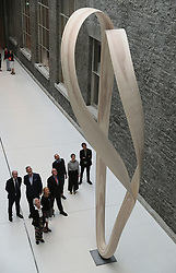People view the sculptural design, Magnus Modus by Joseph Walsh, during a preview at the National Gallery of Ireland, Dublin. The piece was commissioned by the Office of Public Works on behalf of the gallery under the Per Cent for Art Scheme.