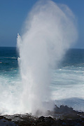 An ocean geyser created by powerful surf on Espanola Island, Galapagos Archipelago - Ecuador.