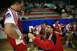 Rok Terzan, coach of Slovan Boris Denic and Boris Becirovic at handball game RD Slovan vs RD Merkur  in 7th round of MIK First league, on October 24, 2008 in Ljubljana, Slovenia. (Photo by Vid Ponikvar / Sportal Images)