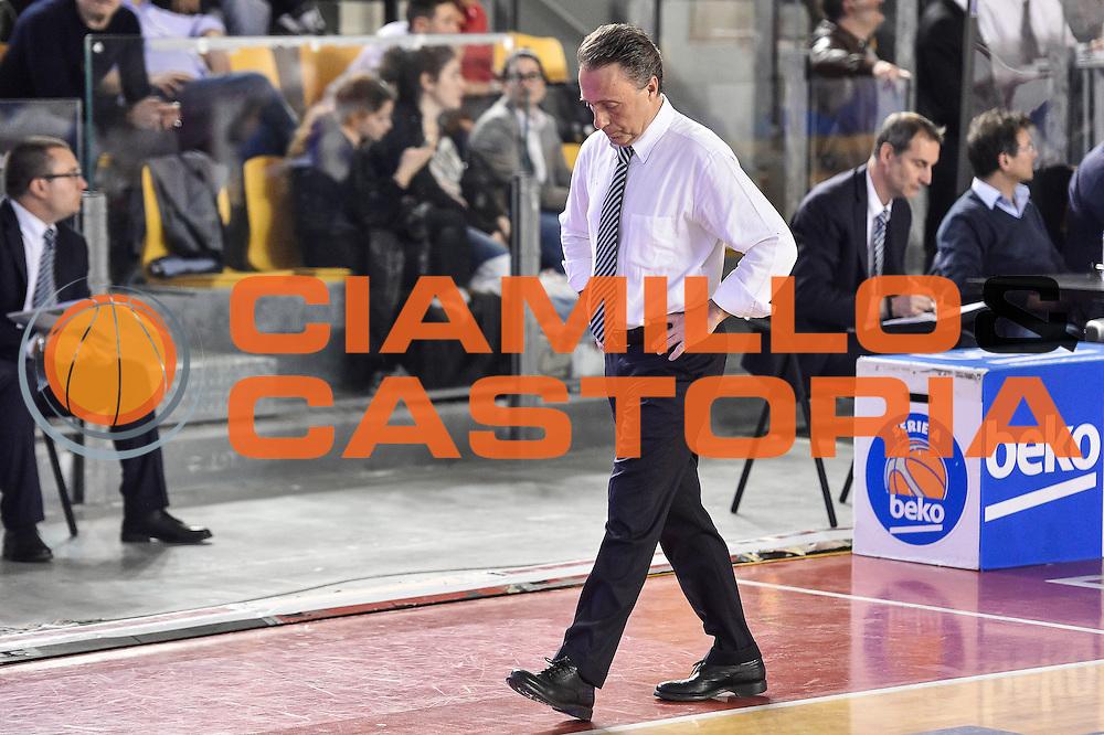 DESCRIZIONE : Campionato 2014/15 Virtus Acea Roma - Enel Brindisi<br /> GIOCATORE : Piero Bucchi<br /> CATEGORIA : Allenatore Coach Ritratto Delusione<br /> SQUADRA : Enel Brindisi<br /> EVENTO : LegaBasket Serie A Beko 2014/2015<br /> GARA : Virtus Acea Roma - Enel Brindisi<br /> DATA : 19/04/2015<br /> SPORT : Pallacanestro <br /> AUTORE : Agenzia Ciamillo-Castoria/GiulioCiamillo