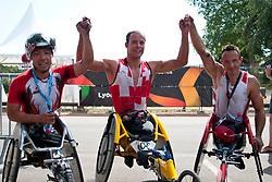 HOKINOUE Kota, HUG Marcel, HAMERLAK Tomasz, JPN, SUI, POL, Marathon, T54, 2013 IPC Athletics World Championships, Lyon, France