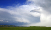 A May storm races across the Valley plain towering into a evolving vertical wall of clouds.