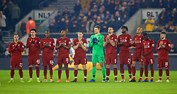 WOLVERHAMPTON, ENGLAND - Monday, January 7, 2019: Liverpool players stand for a minute's applause for former Wolverhampton Wanderers player Bill Slater before the FA Cup 3rd Round match between Wolverhampton Wanderers FC and Liverpool FC at Molineux Stadium. (Pic by David Rawcliffe/Propaganda)