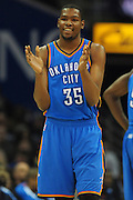 March 13, 2011; Cleveland, OH, USA; Oklahoma City Thunder small forward Kevin Durant (35) smiles after being charged with a technical foul during the third quarter against the Cleveland Cavaliers at Quicken Loans Arena. The Thunder beat the Cavaliers 95-75. Mandatory Credit: Jason Miller-US PRESSWIRE