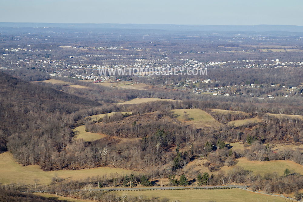 Cornwall, New York - A view of Blooming Grove from Schunnemunk Mountain on Jan. 1, 2015. Clove Road is at the bottom of the frame.