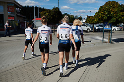 Cervélo Bigla make their way back to the team camper at Postnord Vårgårda West Sweden Road Race 2018, a 141 km road race in Vårgårda, Sweden on August 13, 2018. Photo by Sean Robinson/velofocus.com