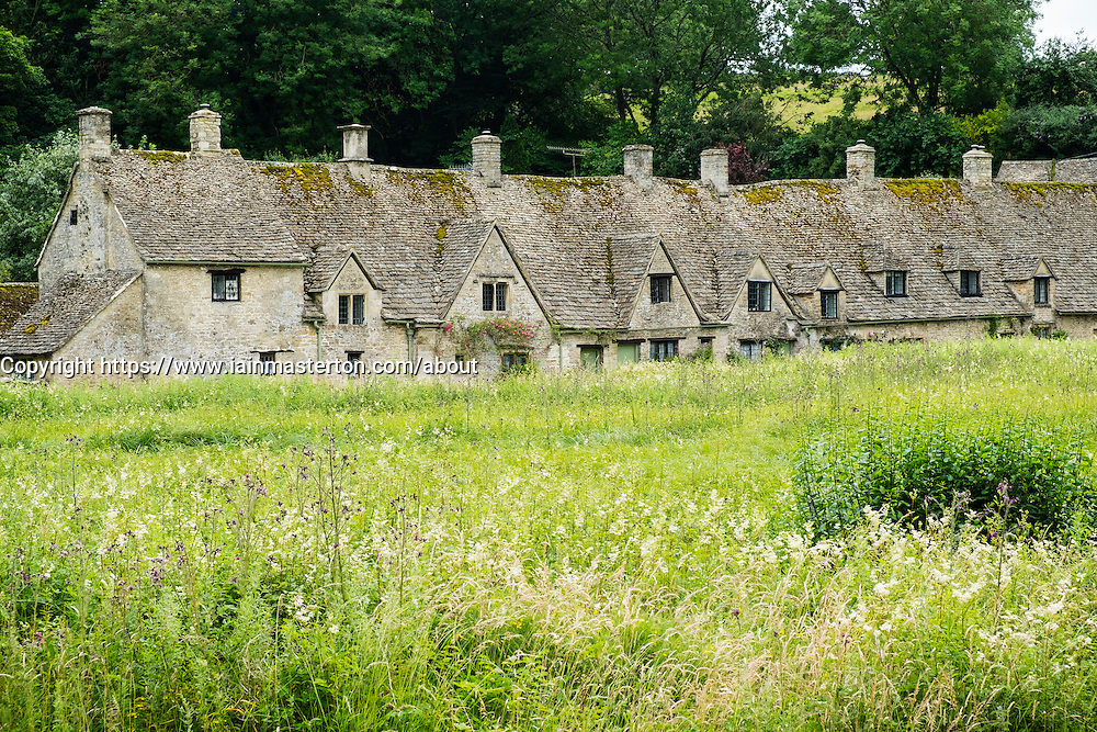 Arlington Row historic former weavers cottages in Bibury ,Gloucestershire, Cotswolds ,England