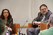 """Vienna, Hauptbuecherei. Presentation of the book """"Aufmarsch: Die rechte Gefahr aus Osteuropa"""" by  Gregor Mayer (r.) and Bernhard Odehnal. Discussion leader Elisa Vass (l)."""