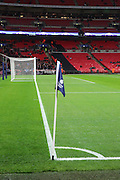 Tottenham corner flag during the Champions League match between Tottenham Hotspur and Bayer Leverkusen at Wembley Stadium, London, England on 2 November 2016. Photo by Matthew Redman.