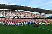 21.04.2013 Sydney, Australia. Teams line up before during the Hyundai A League grand final game between Western Sydney Wanderers FC and Central Coast Mariners FC from the Allianz Stadium.Central Coast Mariners won 2-0.