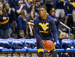 Feb 22, 2016; Morgantown, WV, USA; West Virginia Mountaineers guard Teyvon Myers (0) warms up before their game against the Iowa State Cyclones at the WVU Coliseum. Mandatory Credit: Ben Queen-USA TODAY Sports