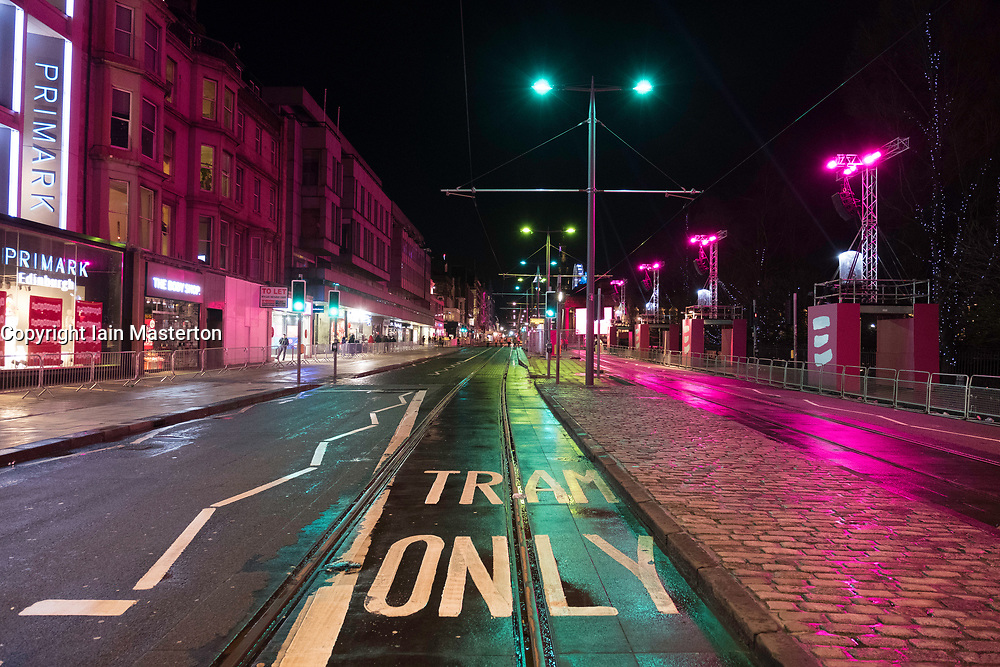 Empty Princess Street minutes before gates are opened to the public at  Edinburgh Hogmanay street party in the city on New Year's Eve 2017. Scotland, United Kingdom.