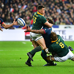 Mathieu Bastareaud of France gets the ball away to Nans Ducuing of France (left) despite the attentions of Duane Vermeulen of South Africa (8) and Jesse Kriel of South Africa (13) during the test match between France and South Africa at Stade de France on November 18, 2017 in Paris, France. (Photo by Dave Winter/Icon Sport)