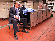 02 NOVEMBER 2010 - PHOENIX, AZ: Terry Goddard calls a reporter in the kitchen of the Wyndham Hotel in Phoenix on election night. Goddard, the Democratic candidate for Governor and incumbent attorney general, lost the election to sitting Governor Jan Brewer, a conservative Republican.  PHOTO BY JACK KURTZ