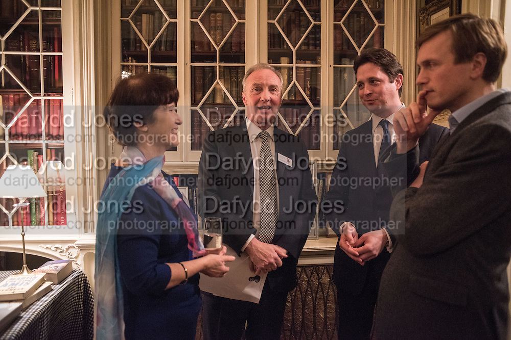 THE DUCHESS OF BUCCLEUCH; THE DUKE OF BUCCLEUCH; ALEX BURGHART, The Walter Scott Prize for Historical Fiction 2015 - The Duke of Buccleuch hosts party to for the shortlist announcement. <br /> The winner is announced at the Borders Book Festival in Scotland in June.John Murray's Historic Rooms, 50 Albemarle Street, London, 24 March 2015.