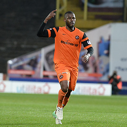 Wato Kuate (Dundee United) celebrates scoring during the SPFL Premiership quarter final play-off 2nd leg between Dundee United and Greenock Morton, where the home side went into the match with a 2-1 lead from the first leg, which proved too much for the Greenock side to overcome, as a win ensured the Tayside club progressed to the play-off semi final against Falkirk.<br /> <br /> (c) Dave Johnston | sportPix.org.uk