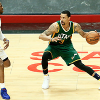 30 April 2017: LA Clippers guard Chris Paul (3) defends on Utah Jazz guard George Hill (3) during the Utah Jazz 104-91 victory over the Los Angeles Clippers, during game 7 of the first round of the Western Conference playoffs, at the Staples Center, Los Angeles, California, USA.