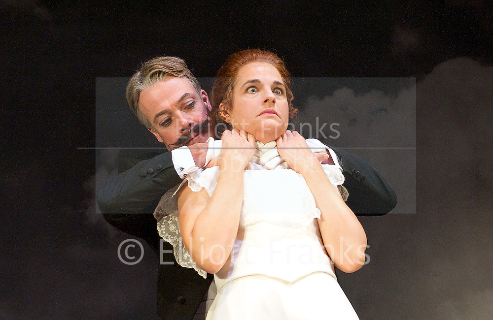 Grand Guignol<br /> by Richard J Hand &amp; Michael Wilson <br /> directed by Simon Stokes <br /> at Southwark Playhouse, London, Great Britain <br /> press photocall<br /> 24th October 2014 <br /> <br /> <br /> <br /> Robert Portal as Paulais<br /> <br /> Emily Raymond as Maxa<br /> <br /> <br /> Photograph by Elliott Franks <br /> Image licensed to Elliott Franks Photography Services