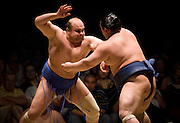 Hakurozan (left) and Wakanosato compete in the first round of Day 1 of Grand Sumo Tournament Los Angeles 2008, Los Angeles Sports Arena, Los Angeles, California