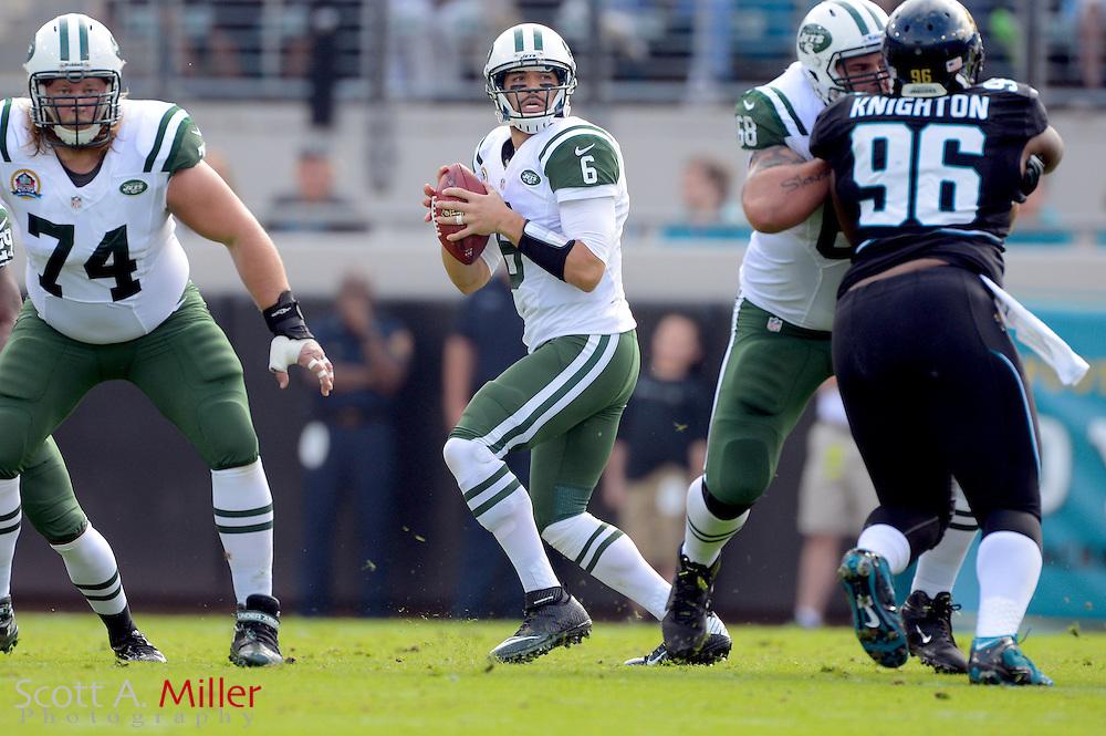 New York Jets quarterback Mark Sanchez (6) during an NFL game against the Jacksonville Jaguars at EverBank Field on Dec 9, 2012 in Jacksonville, Florida. The Jets won 17-10...©2012 Scott A. Miller..