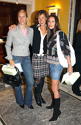 Left to right, TANYA BRYER, HEATHER KERZNER and TAMARA MELLON at the launch of MAC's High Tea collection with leading British designers held at The Berkeley Hotel, London on 17th January 2005.  MAC has collabroated with The Berkeley's Pret-a-Portea, which adds a creative twist to th classic elements of the English afternoon tea with cakes and pastries inspired by fashion designs.<br /><br />NON EXCLUSIVE - WORLD RIGHTS