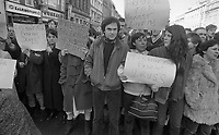 TD's Tony Gregory and Christy Burke at the protest in O Connell Street to support the Dublin Street Traders, 09/03/1985 (Part of the Independent Newspapers Ireland/NLI Collection).