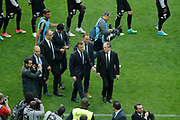 Emmanuel Macron, president de la Republique francaise and Noel Le Graet, president de la federation francaise de football, Jean-Pierre Papin, Nasser Al-Khelaifi (psg) and Said Chabane, president du SCO Angers during the 100th French Cup, Final football match between SCO Angers and Paris Saint-Germain on May 27, 2017 at Stade de France in Saint-Denis, France - Photo Stephane Allaman / ProSportsImages / DPPI