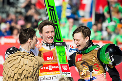 Second placed Robert Kranjec (SLO) as Eagle's mascot,  winner Peter Prevc (SLO) and Anze Lanisek celebrate after Ski Flying Hill Individual Competition at Day 4 of FIS Ski Jumping World Cup Final 2016, on March 20, 2016 in Planica, Slovenia. Photo by Vid Ponikvar / Sportida