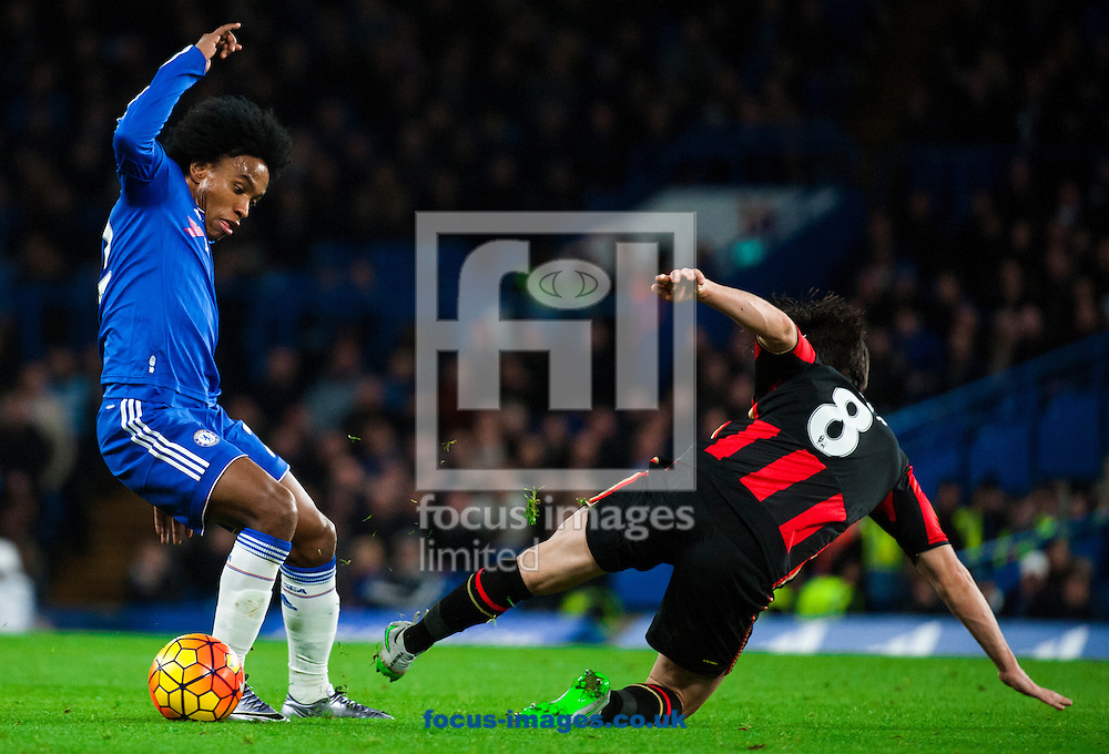 Willain of Chelsea evades a challenge from Harry After of AFC Bournemouth  during the Barclays Premier League match at Stamford Bridge, London<br /> Picture by Jack Megaw/Focus Images Ltd +44 7481 764811<br /> 05/12/2015