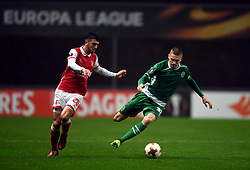 BRAGA, Oct. 20, 2017  Paulinho(L) of Braga vies with Igor Plastun of Ludogorets during the Europa League soccer match between SC Braga and PFC Ludogorets 1945 at the Braga Municipal Stadium in Braga, Portugal, on Oct. 19, 2017. (Credit Image: © Zhang Liyun/Xinhua via ZUMA Wire)