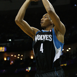 February 7, 2011; New Orleans, LA, USA; Minnesota Timberwolves small forward Wesley Johnson (4) shoots against the New Orleans Hornets during the fourth quarter at the New Orleans Arena. The Timberwolves defeated the Hornets 104-92.  Mandatory Credit: Derick E. Hingle