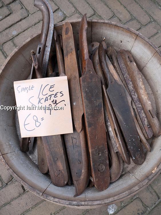 Old antique ice skate blades for sale in antique shop in Delft The Netherlands