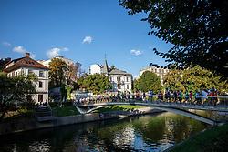 Runners at Adidas Bridge Run across river Ljubljanica, on September 8, 2018 in Ljubljana, Slovenia. Photo by Urban Urbanc / Sportida