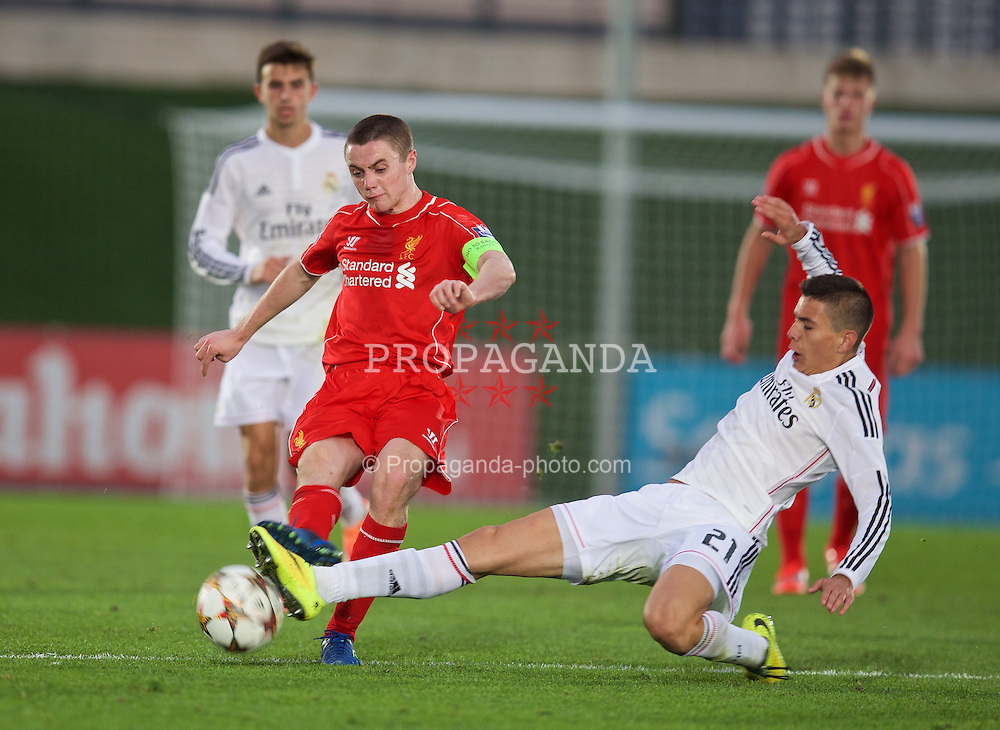 MADRID, SPAIN - Tuesday, November 4, 2014: Liverpool's captain Jordan Rossiter in action against Real Madrid CF's Cristian Cedres during the UEFA Youth League Group B match at Ciudad Real Madrid. (Pic by David Rawcliffe/Propaganda)
