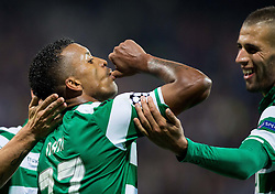Nani of Sporting celebrates after scoring first goal for Sporting during football match between NK Maribor and Sporting Lisbon (POR) in Group G of Group Stage of UEFA Champions League 2014/15, on September 17, 2014 in Stadium Ljudski vrt, Maribor, Slovenia. Photo by Vid Ponikvar  / Sportida.com