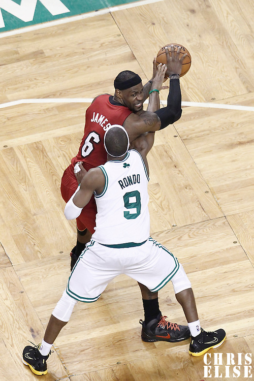 07 June 2012: Miami Heat small forward LeBron James (6) looks to pass the ball over Boston Celtics point guard Rajon Rondo (9) during second half of Game 6 of the Eastern Conference Finals playoff series, Heat at Celtics at the TD Banknorth Garden, Boston, Massachusetts, USA.
