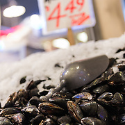 Fresh mussels on display at Pike Place Market, Seattle