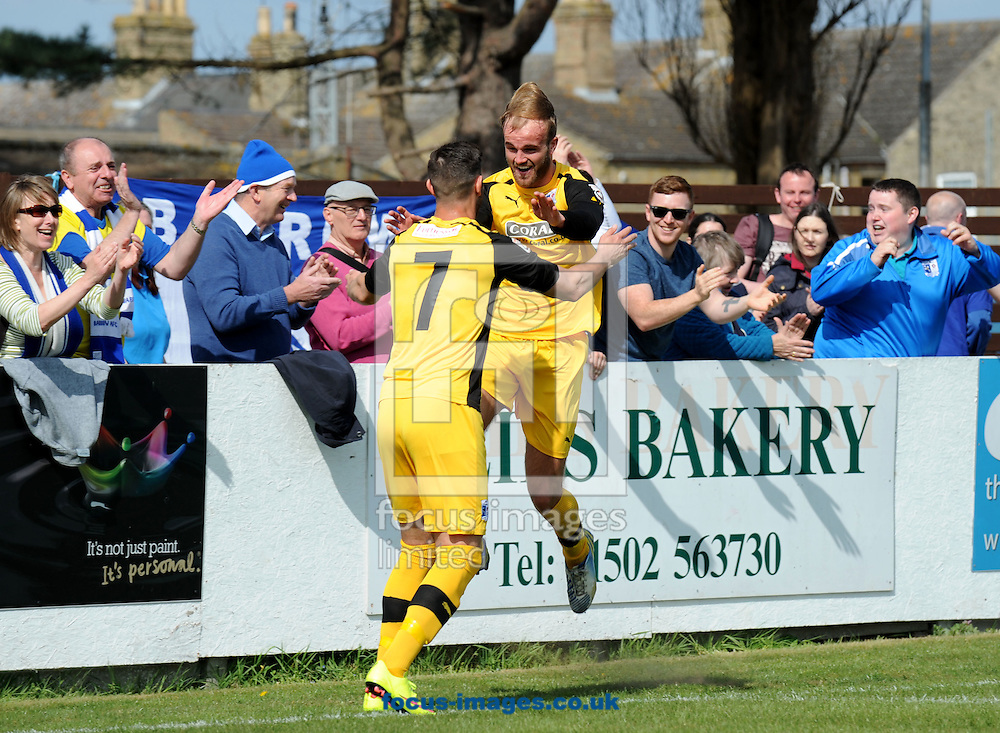 Niall Copperthwaite of Barrow celebrates scoring the second goal during the Conference North match at Crown Meadow, Lowestoft<br /> Picture by Rob Howarth/Focus Images Ltd 07768 285551<br /> 25/04/2015