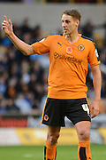 Wolverhampton Wanderers midfielder Dave Edwards makes a point during the Sky Bet Championship match between Wolverhampton Wanderers and Burnley at Molineux, Wolverhampton, England on 7 November 2015. Photo by Alan Franklin.