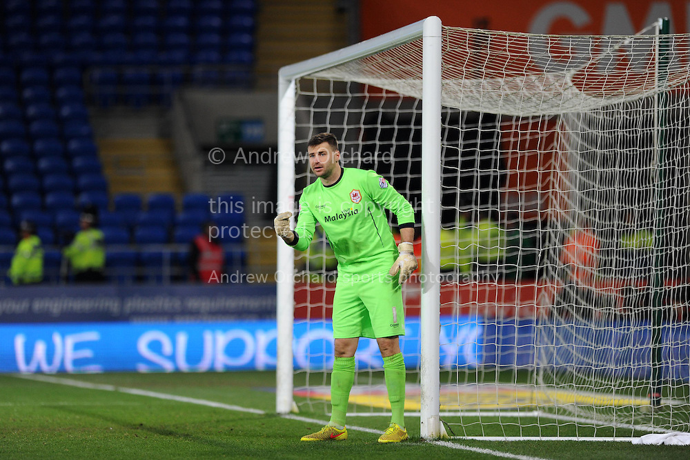 Cardiff city goalkeeper David Marshall in action. Skybet football league championship match, Cardiff city v Brighton &amp; Hove Albion at the Cardiff city Stadium in Cardiff, South Wales on Tuesday 10th Feb 2015.<br /> pic by Andrew Orchard, Andrew Orchard sports photography.