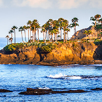 Panorama Photo of Laguna Beach in Orange County California. Laguna Beach is a Southern California beach city along the Pacific Ocean in the United States. Panoramic photo ratio is 1:3.