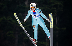 Aleksandra Barantceva of Russia soaring through the air during Trial Round at Day 1 of World Cup Ski Jumping Ladies Ljubno 2019, on February 8, 2019 in Ljubno ob Savinji, Slovenia. Photo by Matic Ritonja / Sportida