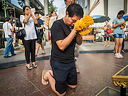 22 AUGUST 2015 - BANGKOK, THAILAND: People pray inside Erawan Shrine Saturday. Erawan Shrine in Bangkok reopened Wednesday, August 19, after more than 20 people were killed and more than 100 injured in a bombing at the shrine Monday, August 17, 2015. The shrine is a popular tourist attraction in the center of Bangkok's high end shopping district and is an important religious site for Thais. No one has claimed responsibility for the bombing.             PHOTO BY JACK KURTZ