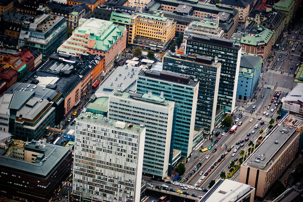 A view from a helicopter flying over Hötorget buildings, Stockholm