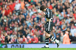 LIVERPOOL, ENGLAND - Sunday, May 3, 2009: Newcastle United's Joey Barton looks dejected as he is sent off during the Premiership match against Liverpool at Anfield. (Photo by David Rawcliffe/Propaganda)