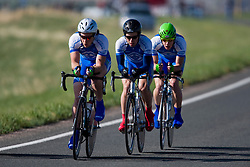 The Marian College team of Jeff Carl, Matt Jones, Patrick J. Kilmurray, Bennet van der Genugten, Alex Wieseler, and David Williams competes in the men's division 1 race.  The 2008 USA Cycling Collegiate National Championships Team Time Trial event was held near Wellington, CO on May 9, 2008.  Teams of 3 or 4 riders raced over a 20km out and back course that ran along a service road to Interstate 25.