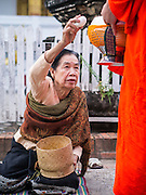 """11 MARCH 2013 - LUANG PRABANG, LAOS: A woman drops a serving of sticky rice into a monk's alms bowl during the tak bat in Luang Prabang. The """"Tak Bat"""" is a daily ritual in most of Laos (and other Theravada Buddhist countries like Thailand and Cambodia). Monks leave their temples at dawn and walk silently through the streets and people put rice and other foodstuffs into their alms bowls. Luang Prabang, in northern Laos, is particularly well known for the morning """"tak bat"""" because of the large number temples and monks in the city. Most mornings hundreds of monks go out to collect alms from people.    PHOTO BY JACK KURTZ"""