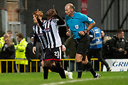 Goal Grimsby Town forward Ahkeem Rose celeberates as he scores a goal 1-0 during the EFL Sky Bet League 2 match between Grimsby Town FC and Crawley Town at Blundell Park, Grimsby, United Kingdom on 17 November 2018.