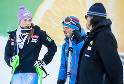 "Maze Tina (SLO), Andrea Vianello and Valerio Ghirardi in finish area after the FIS Alpine Ski World Cup 2014/15 5th Ladies' Slalom race named ""Snow Queen Trophy 2015"", on January 4, 2015 in Course Crveni Spust at Sljeme hill, Zagreb, Croatia.  Photo by Vid Ponikvar / Sportida"